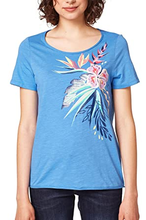 068ee1k029, T-Shirt Femme, Multicolore (Blue 430), SmallEsprit