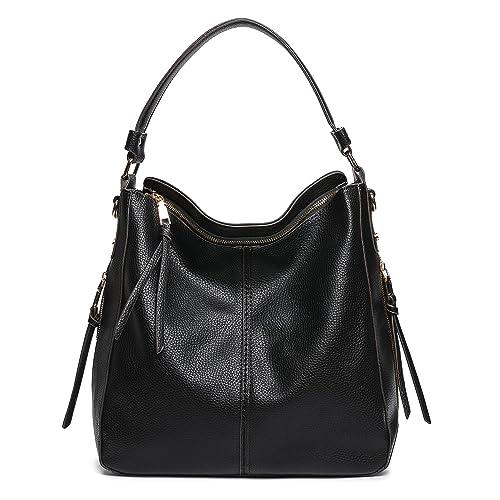 DDDH Hobo Handbags Leather Purses Large Tote Shoulder Bags Vintage Bucket  Bag For Women(Black … 3adfe15a0ac35