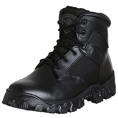 Rocky Men's AlphaForce Waterproof Duty Work Boots, Black Leather, ...