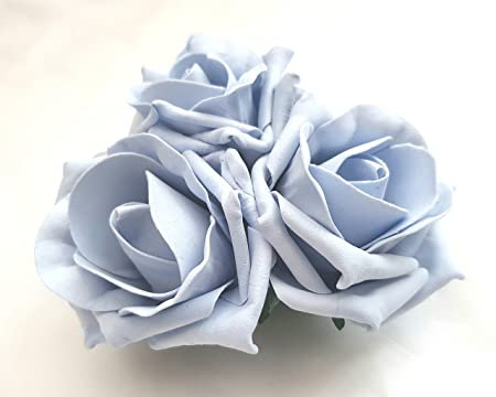 3 Pale Light Blue Roses Cluster Artificial Hair Flowers Corsage Clip Hand Made in Uk. S1 pm6XA3WsD