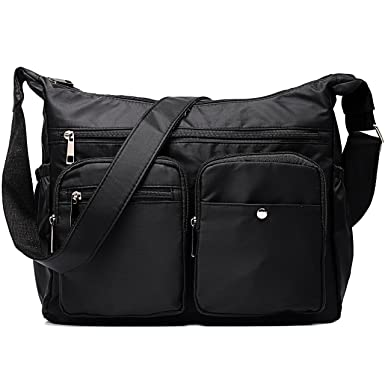 Amazon.com: Women Travel Black Crossbody Bag Messenger Bag ...