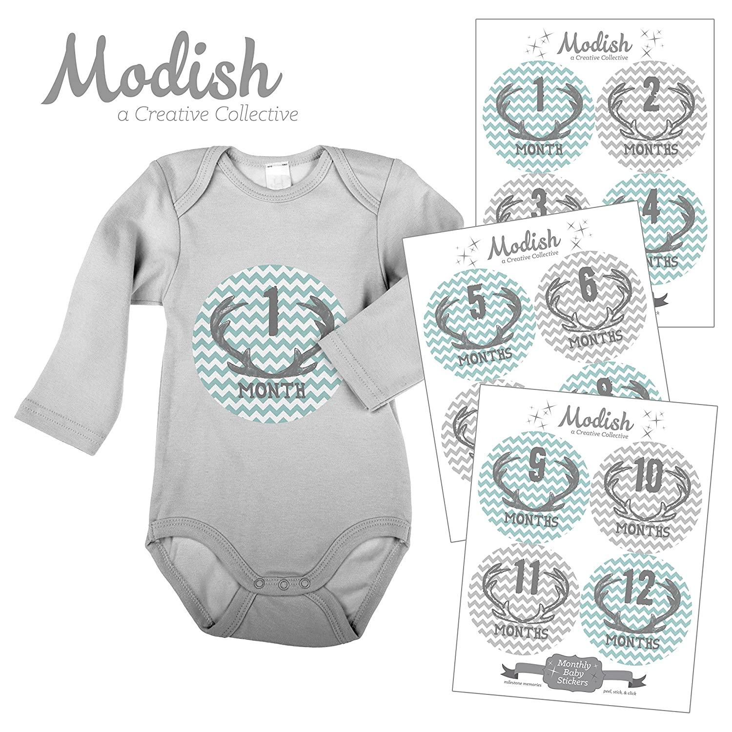 12 Monthly Baby Stickers, Deer Antlers, Boy, Baby Belly Stickers, Monthly Onesie Stickers, First Year Stickers Months 1-12, Gray, Teal, Chevron, Deer Antlers, Woodland, Boy MyTown Marketing Group Inc. MC0006