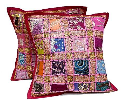 2 rosa con diseño de lentejuelas y bordado Patchwork Indian ...