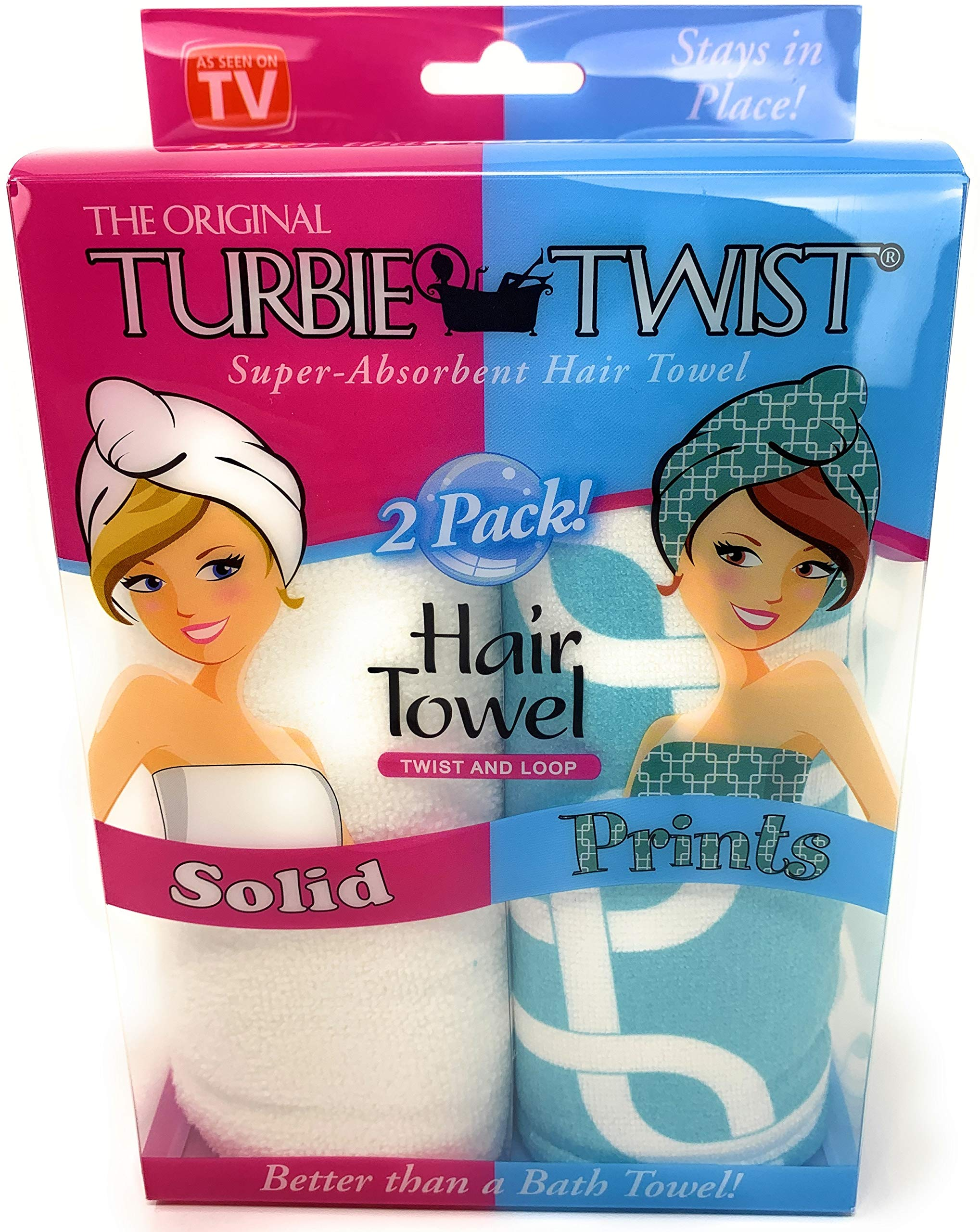 Turbie Twist Microfiber Hair Towel Wrap [2 Pack] - The Original Microfiber Hair Wrap As Seen On TV! Solid - Prints in White and Blue Geo Hair Turban Towel Wraps Plopping Towel for Long and Curly Hair by Turbie Twist