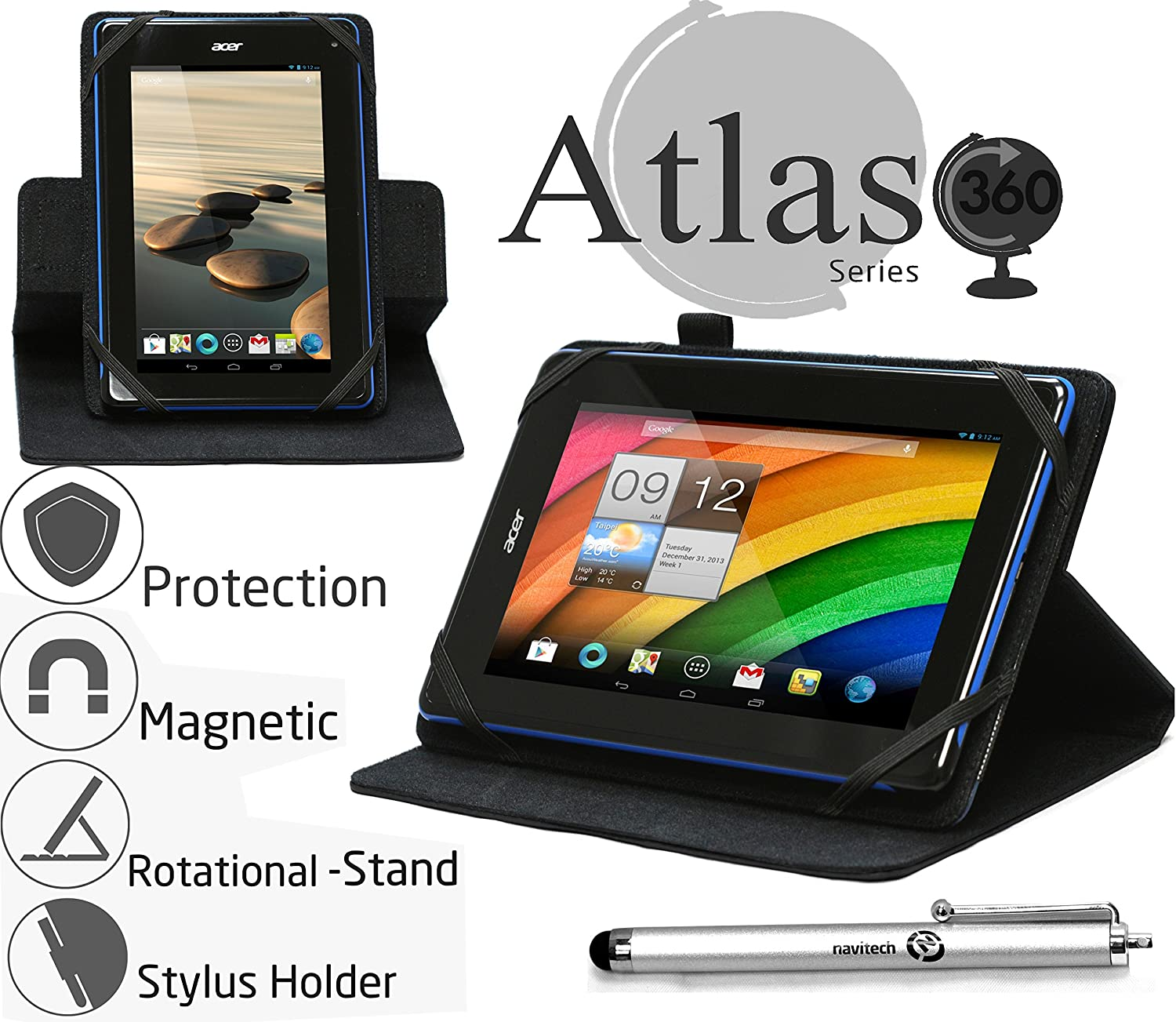 "Navitech 7"" Black Case/Cover with 360 Rotational Stand & Stylus Pen Compatible with The Toshiba Encore Mini/Lenovo Tab S8-50 / Acer Iconia Tab 7 A1-713HD"