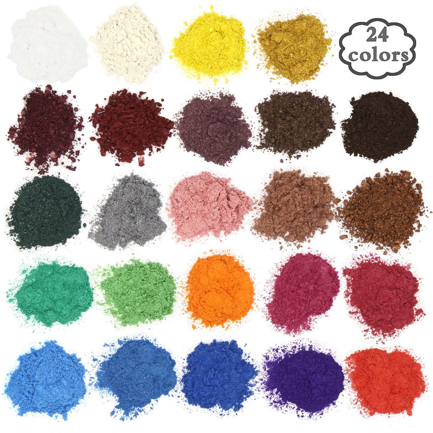 Soap dye - Mica powder - Pigment powder for bath bomb - Soap making colorant - 24 coloring - Resin dye, Eye shadow, Blush, Nail art, Resin jewelry, Artist, Craft projects