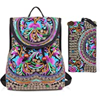 Embroidery Backpack Purse for Women Vintage Handbag Small Drawstring Casual Travel Shoulder Bag Daypack... (2 Bags:Pink Blue Flowers)