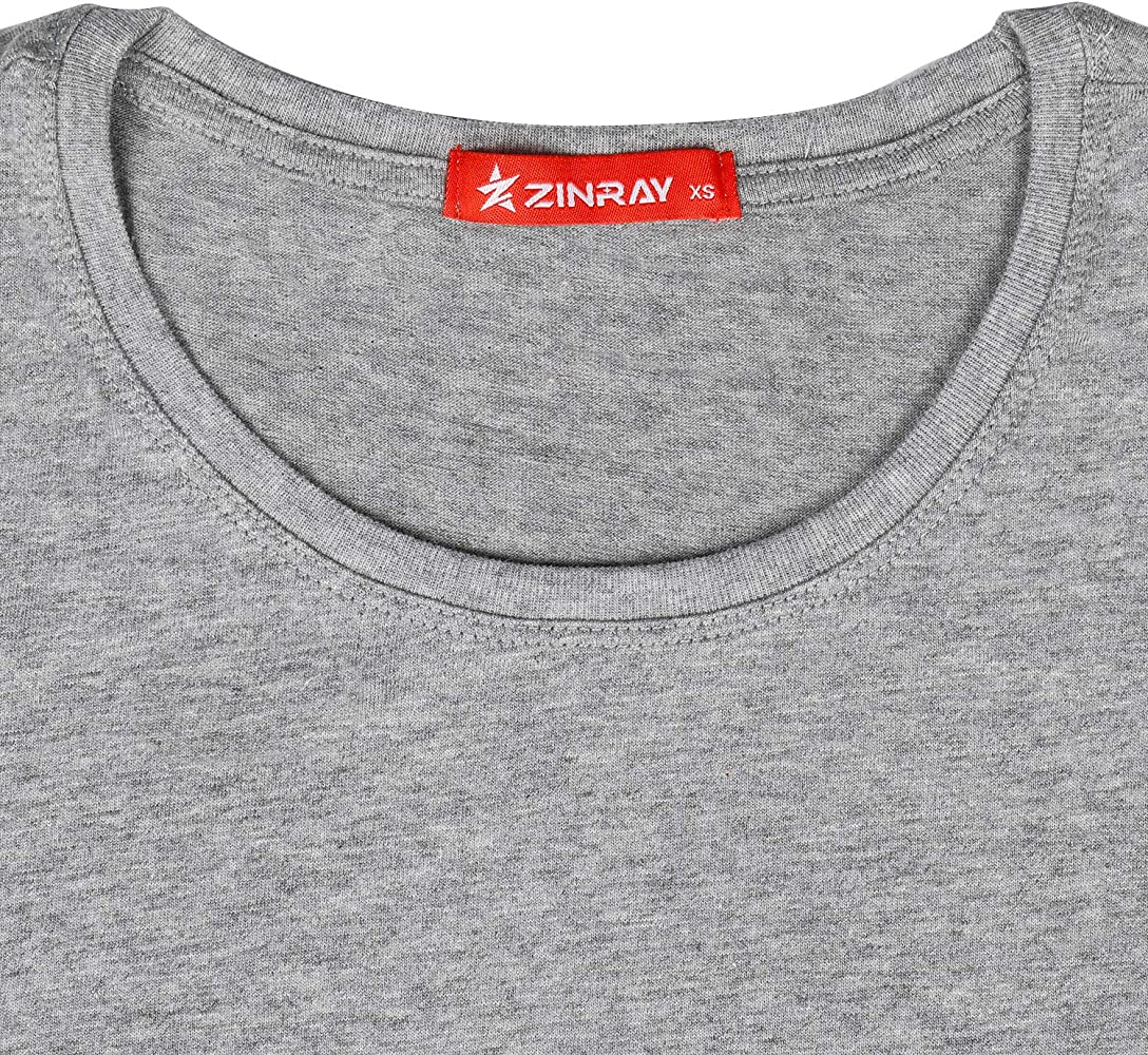 ZINRAY Pack de 10 Camisetas de algodón para Mujer, Gris, Corte Normal, Cuello Redondo, 5 tamaños Gris XXS: Amazon.es: Ropa y accesorios