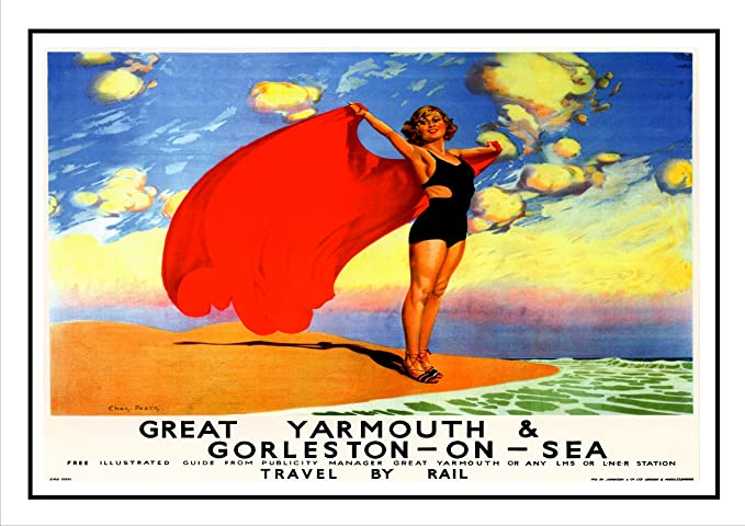 Vintage LNER Great Yarmouth Railway Poster  A3 Print