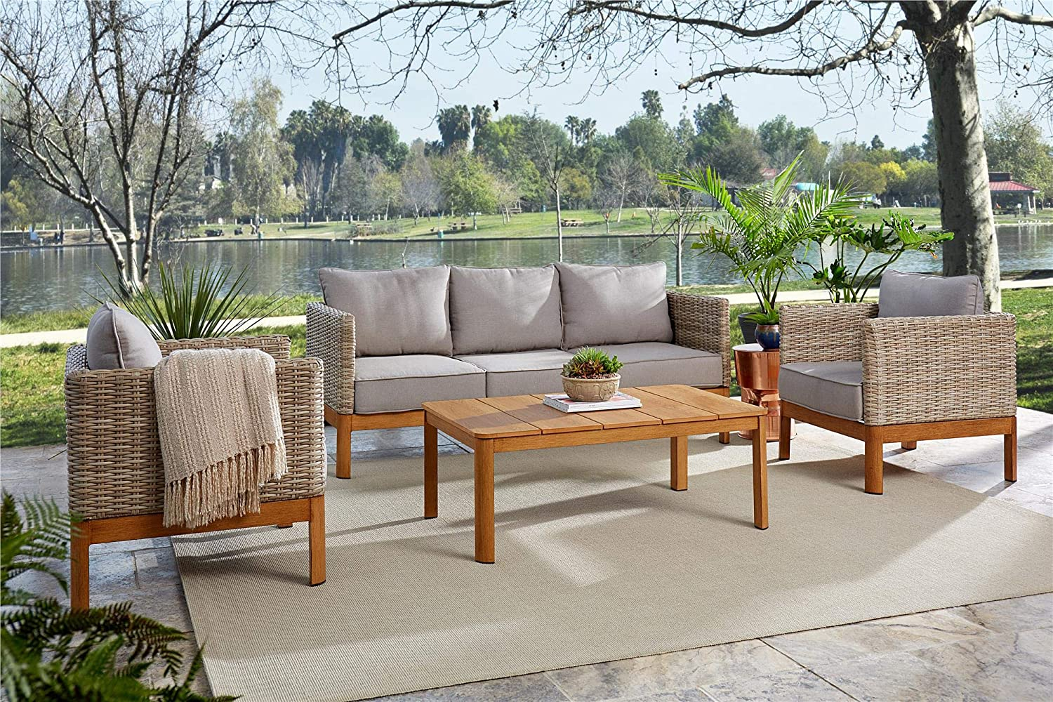 Cosco Outdoor Furniture Set Coffee Table Sofa Chair Set 4 Piece Tan Wicker Warm Gray Cushions