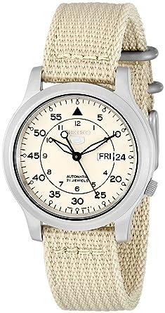 Amazon Com Seiko Men S Snk803 Seiko 5 Automatic Watch With Beige