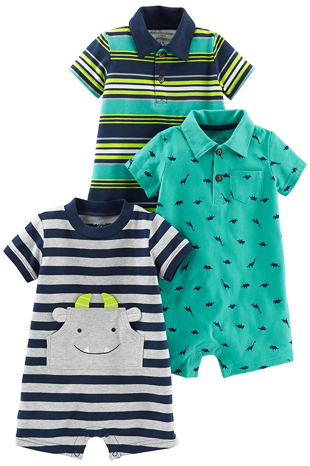 Amazon.com: Simple Joys by Carter\'s Baby Boys\' 3-Pack Rompers: Clothing