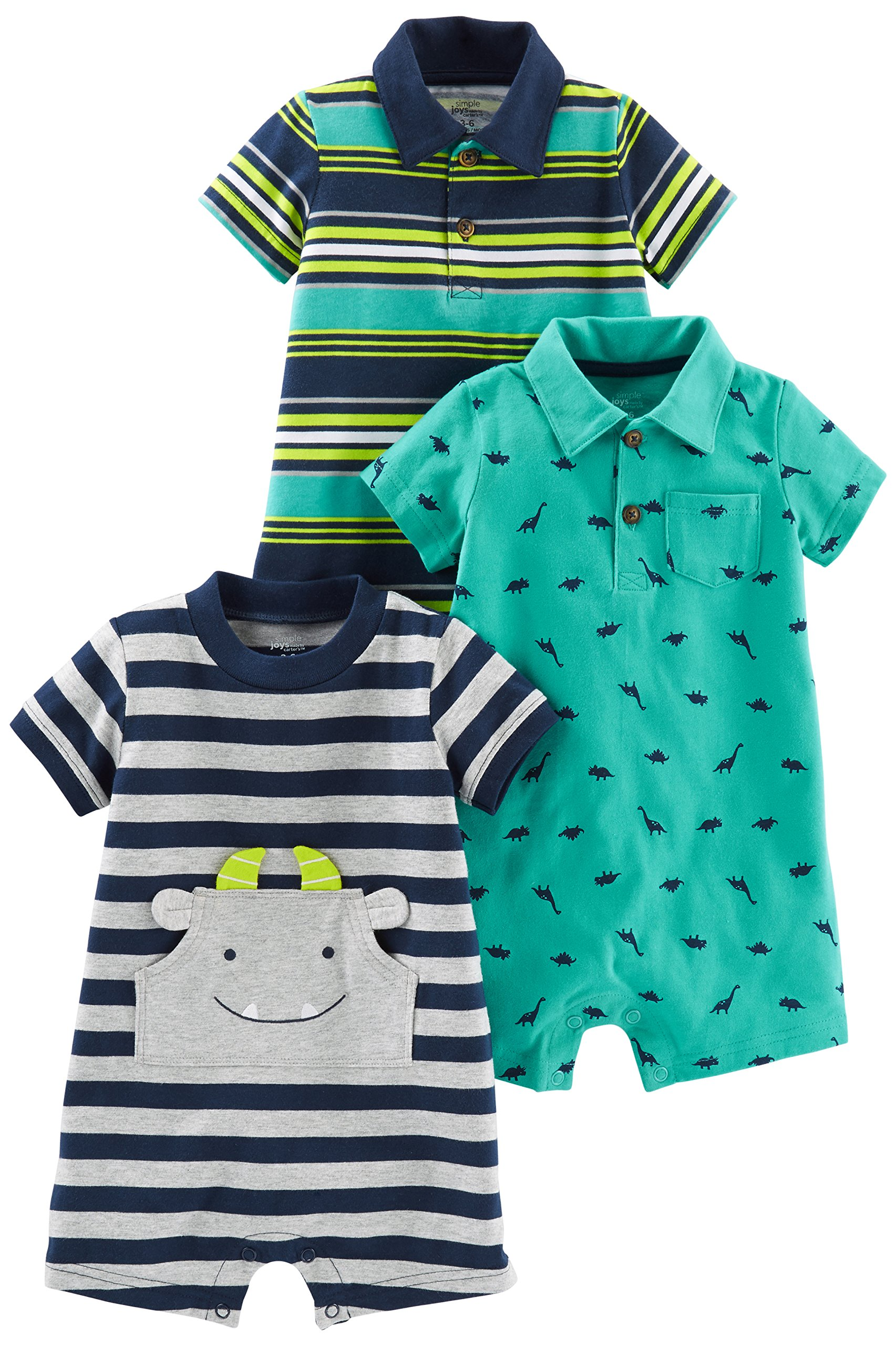 Simple Joys by Carter's Baby Boys' 3-Pack Rompers, Blue Stripe/Turquoise Dino/Grey Navy, 6-9 Months by Simple Joys by Carter's