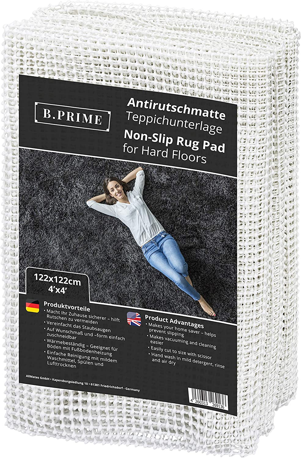 B.PRIME 4x4-Feet Non-Slip Rug Underlay Pad for Hard Floors. Different Size Options Available