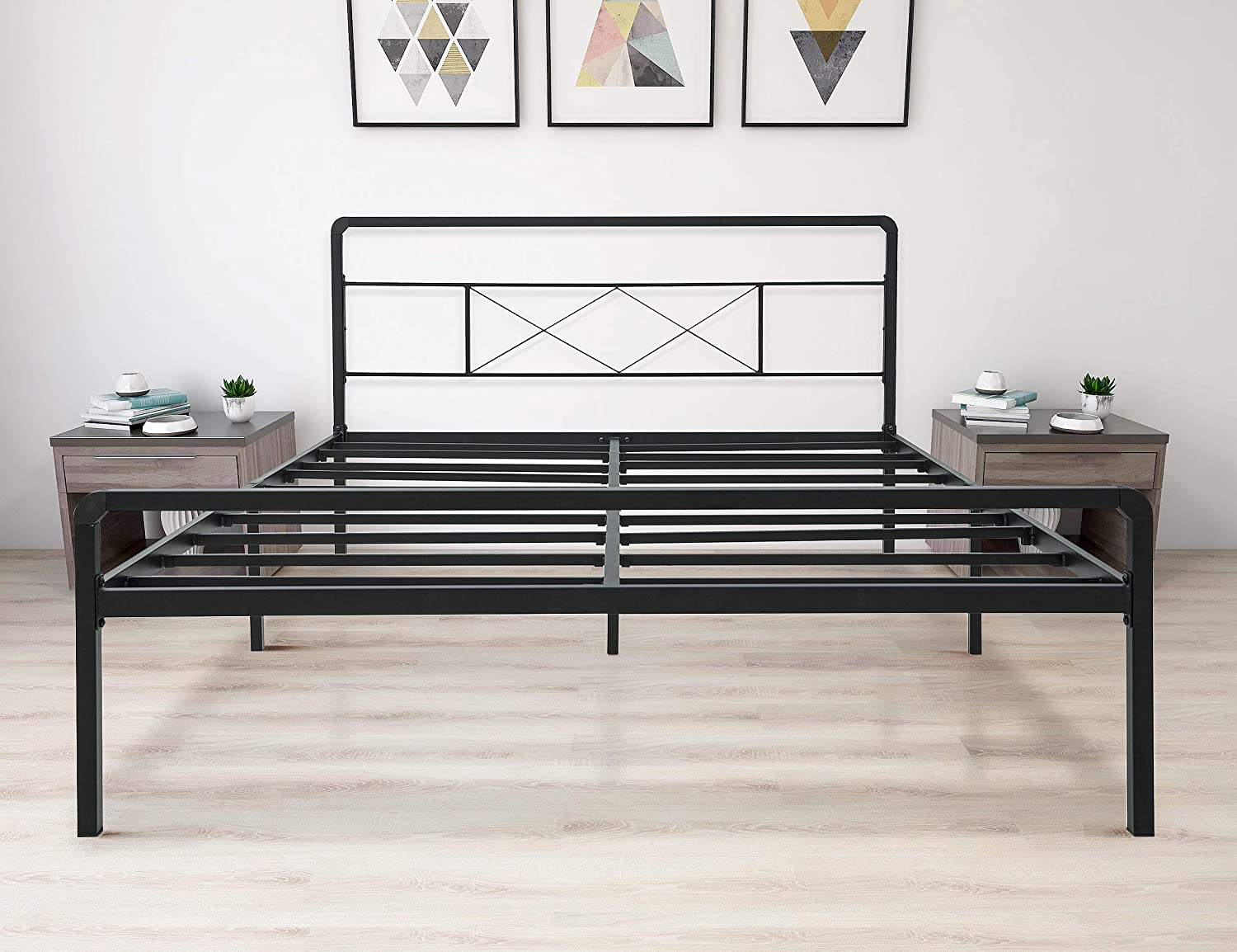 zizin King Metal Platform Bed Frame with Headboard and Footboard Heavy Duty Steel Slat Support Mattress Foundation Easy Assembly Noise-Free Anti-Slip