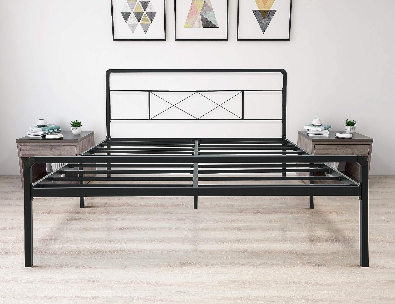 zizin King Metal Platform Bed Frame with Headboard and Footboard Heavy Duty Steel Slat Support Mattress Foundation Easy Assembly Noise-Free Anti-Slip