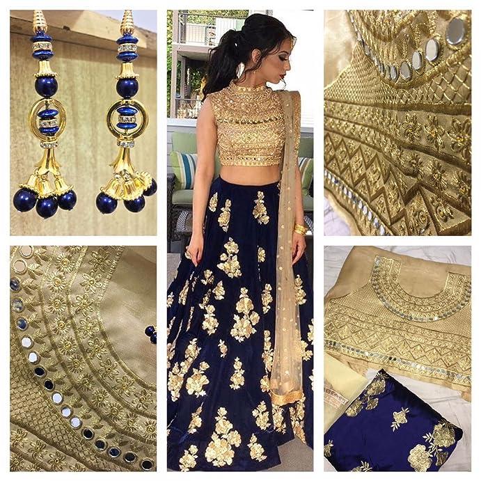 Women's Party Wear New Year Collection Special Sale OffeSalwar Style Bollywood Navy Blue Velvet Heavy Bridal Wedding Lehenga Chaniya Ghagra Choli Lehenga Cholis at amazon