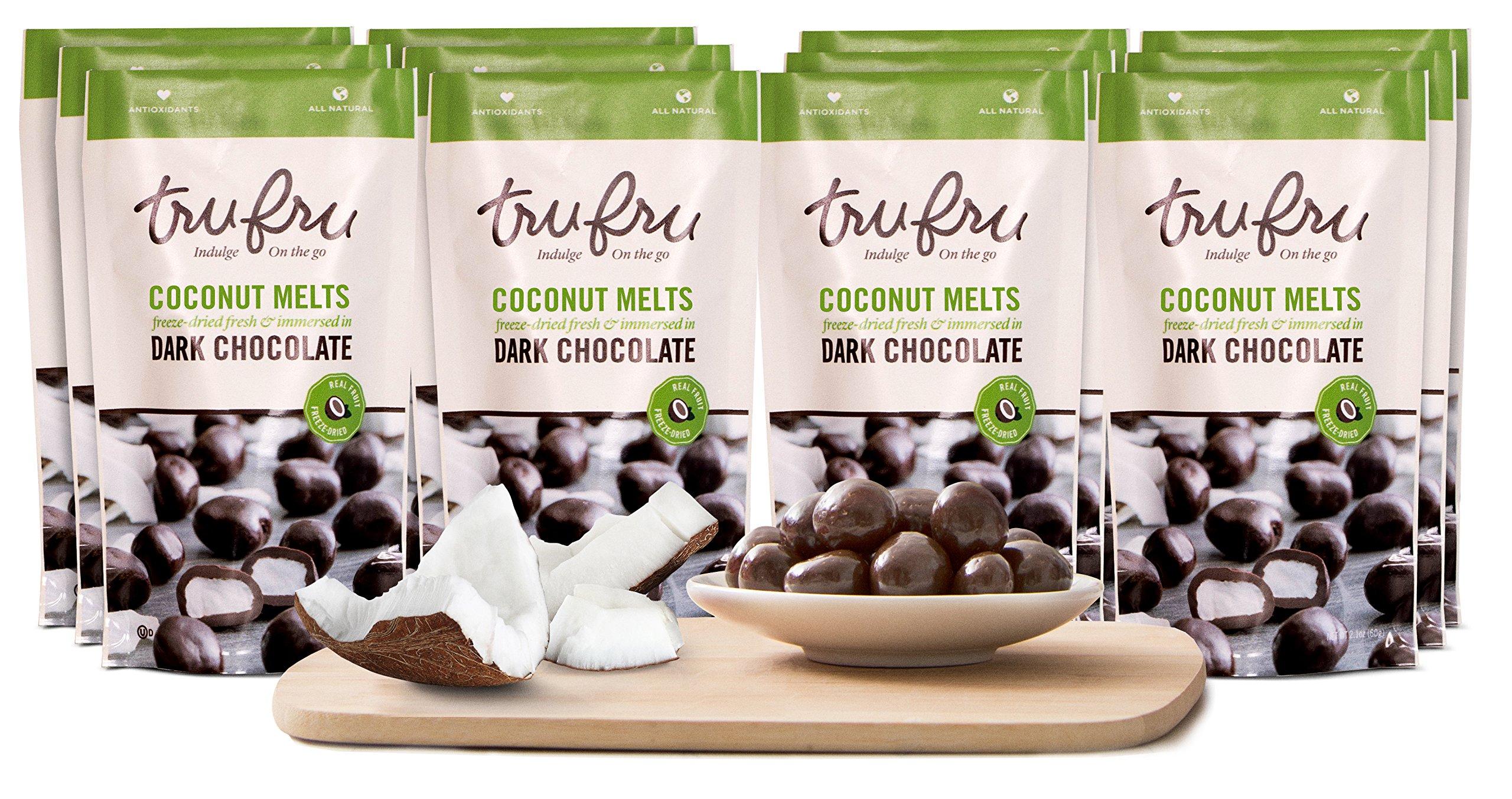 Tru Fru Dark Chocolate Dipped Freeze-Dried Fruit, 12-Pack Grab & Go, Coconut