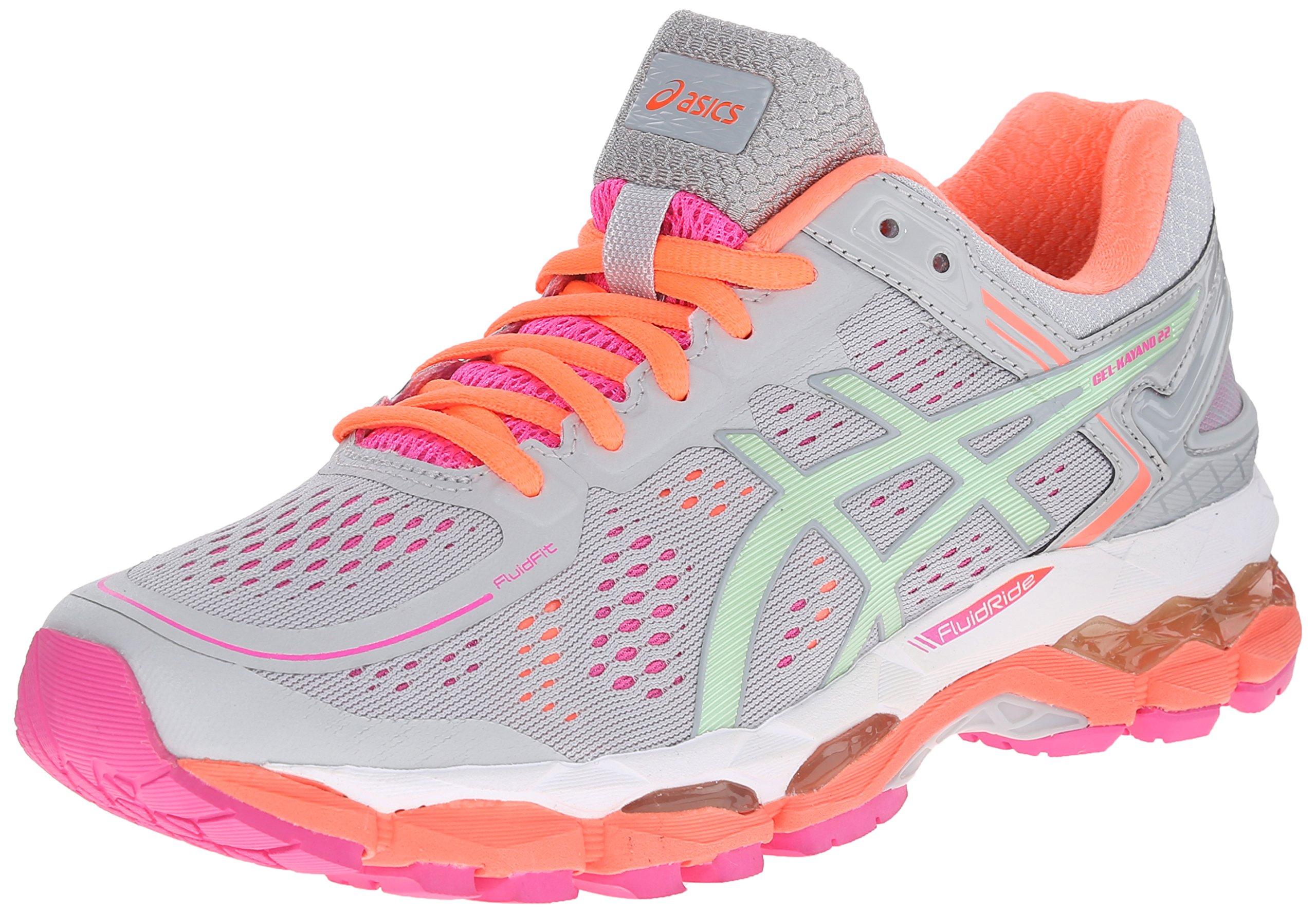 ASICS Women's Gel Kayano 22 Running Shoe, Silver Grey/Pistachio/Fiery Coral, 8.5 M US