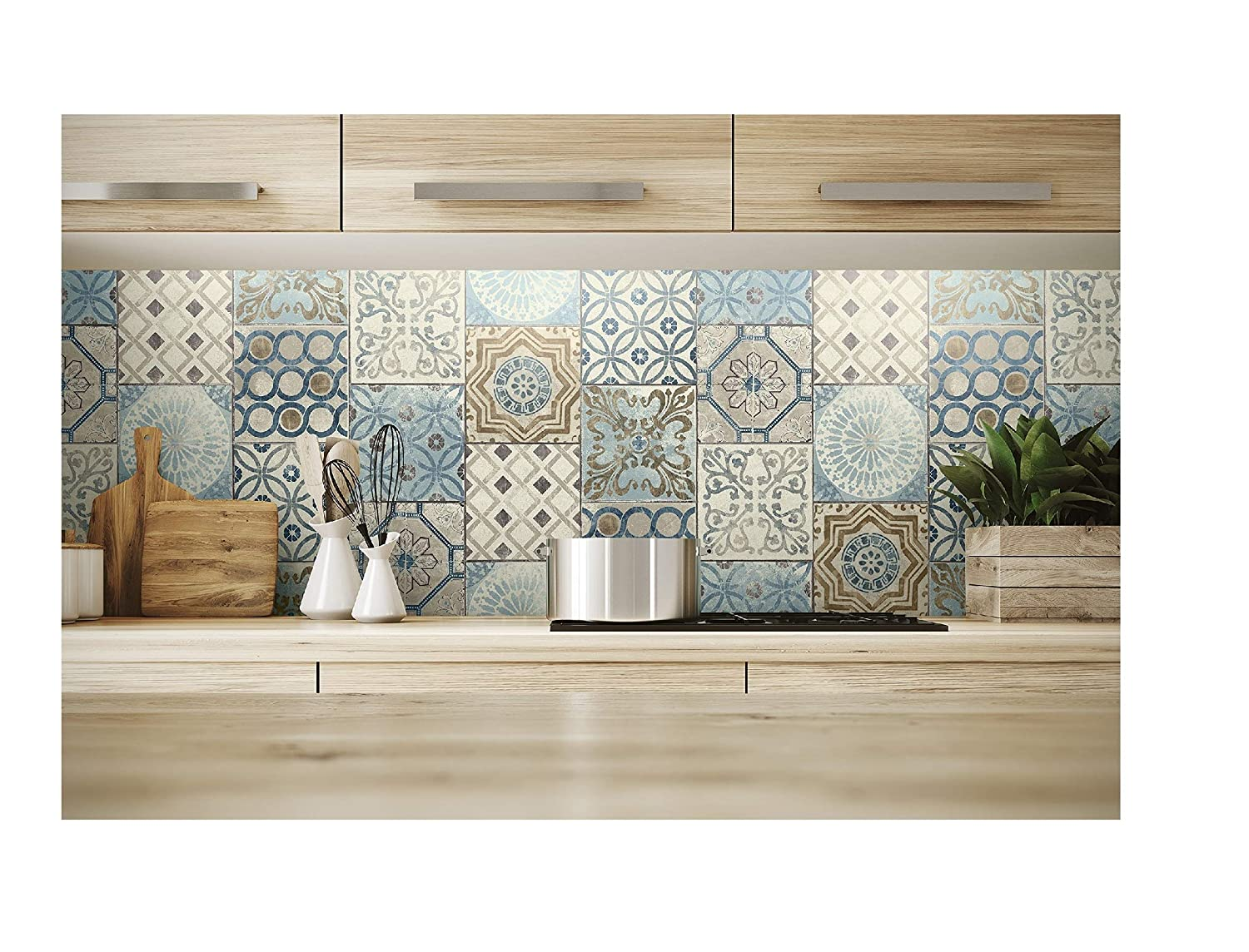 NextWall Moroccan Style Peel and Stick Mosaic Tile Wallpaper. (Blue, Copper & Grey)