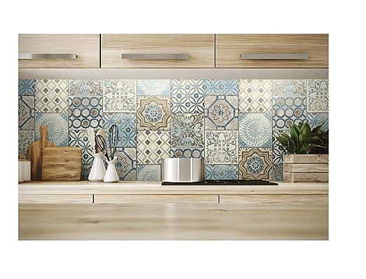 Nextwall Schälen Und Stick Mosaik Fliesen Tapete. (blau, Marokkanischer  Stil, Kupfer U0026 Grau): Amazon.de: Baumarkt