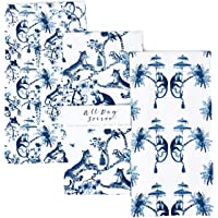 ALL DAY SOIREE Chinoiserie Designer Kitchen Tea Towels 3 Pack 100% Absorbent Cotton Tiger Monkey Floral Hand Towel Large…