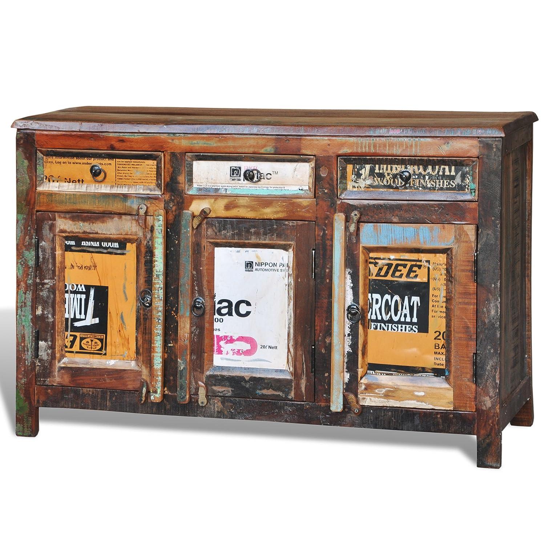 VidaXL Antik Teak Massivholz Kommode Sideboard TV Hoch Schrank Vintage Retro 3 Tren Amazonde Kche Haushalt