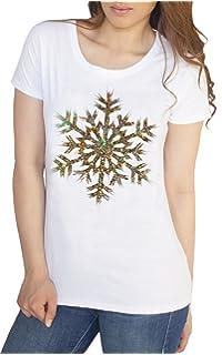 Women's T-Shirt Christmas Xmas /'Believe/' Snowflake Novelty Glitter Effect TS1064