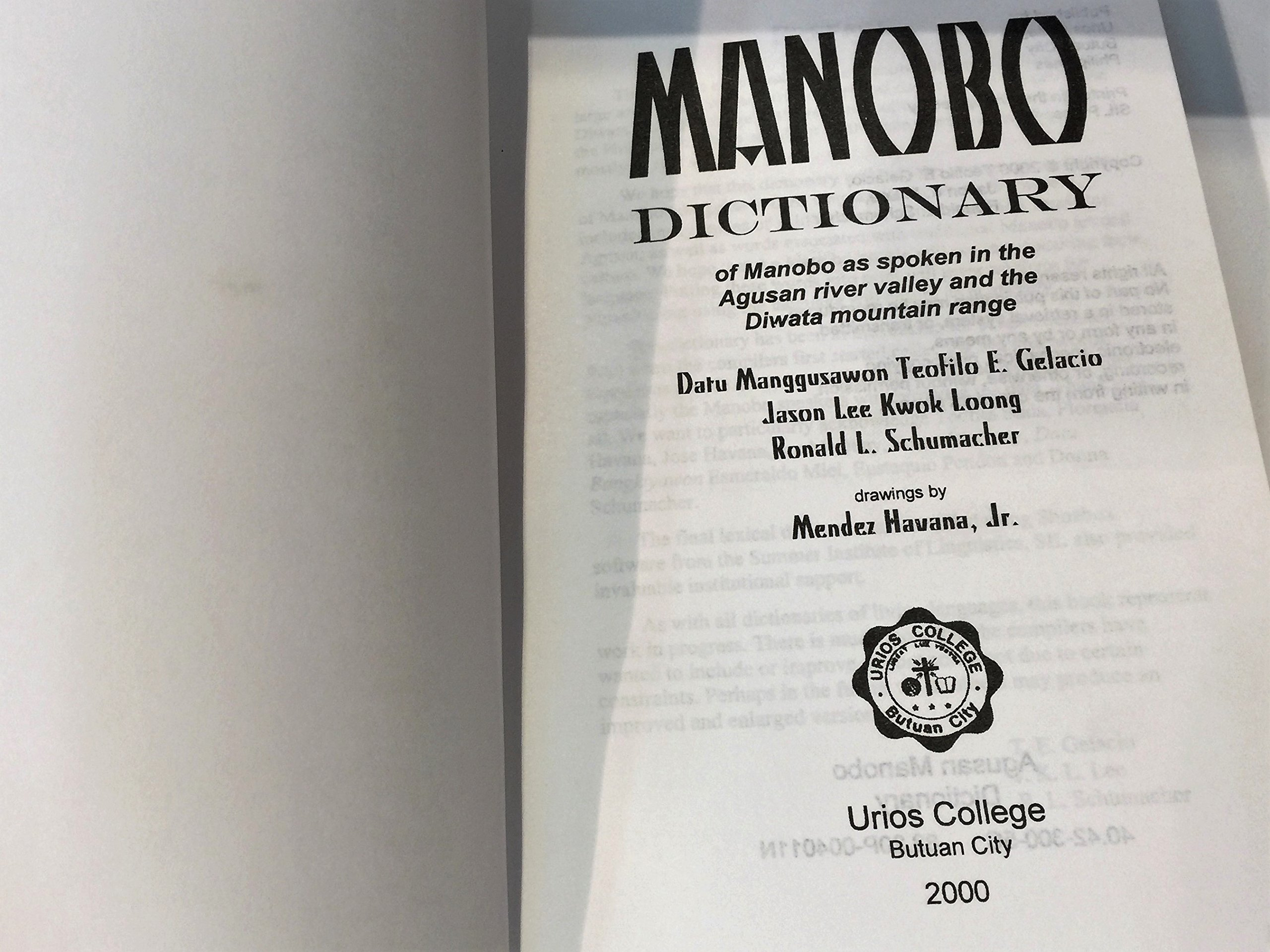 Manobo Dictionary of Manobo as Spoken in the Agusan River Valley and