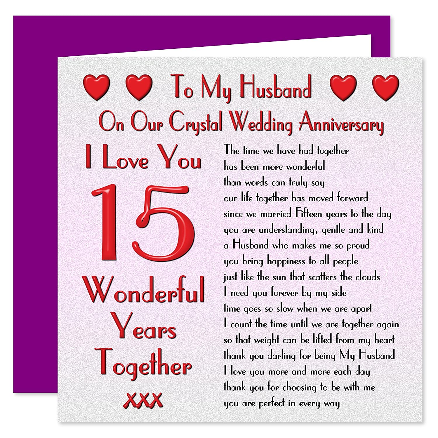 My Husband 15th Wedding Anniversary Card - On Our Crystal Anniversary - 15  Years - Sentimental Verse I Love You