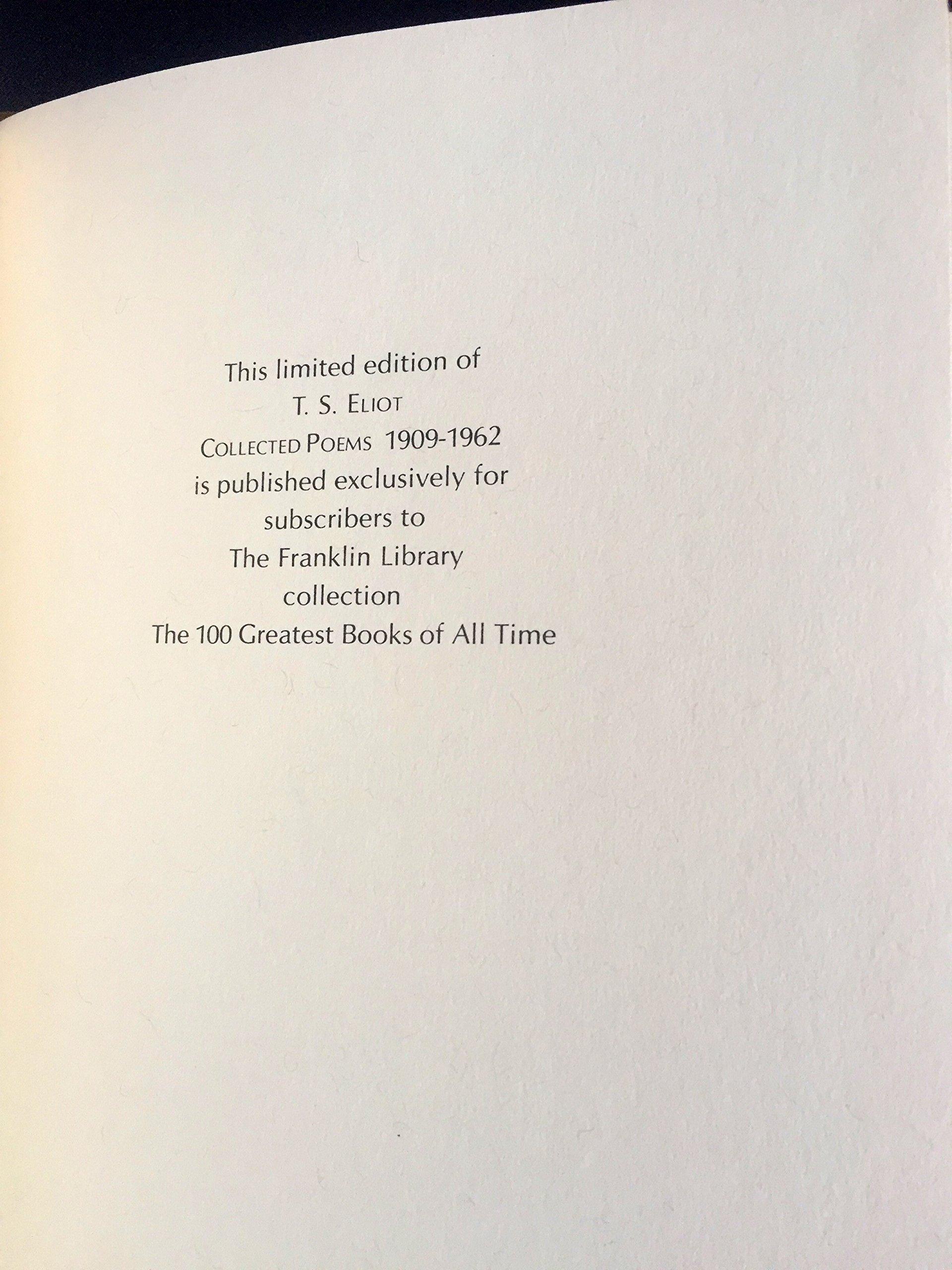 T S Eliot Collected Poems 1909 1962 T S Eliot Amazon