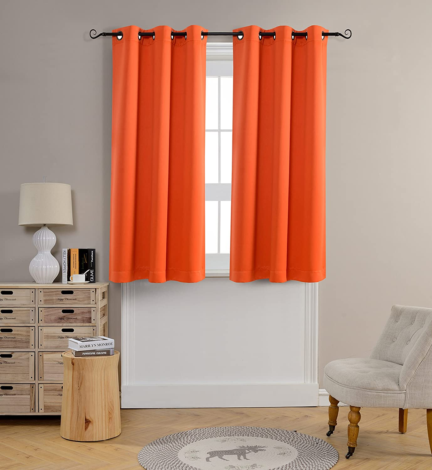 Orange Mysky Home Grommet top Thermal Insulated Window Blackout Curtain