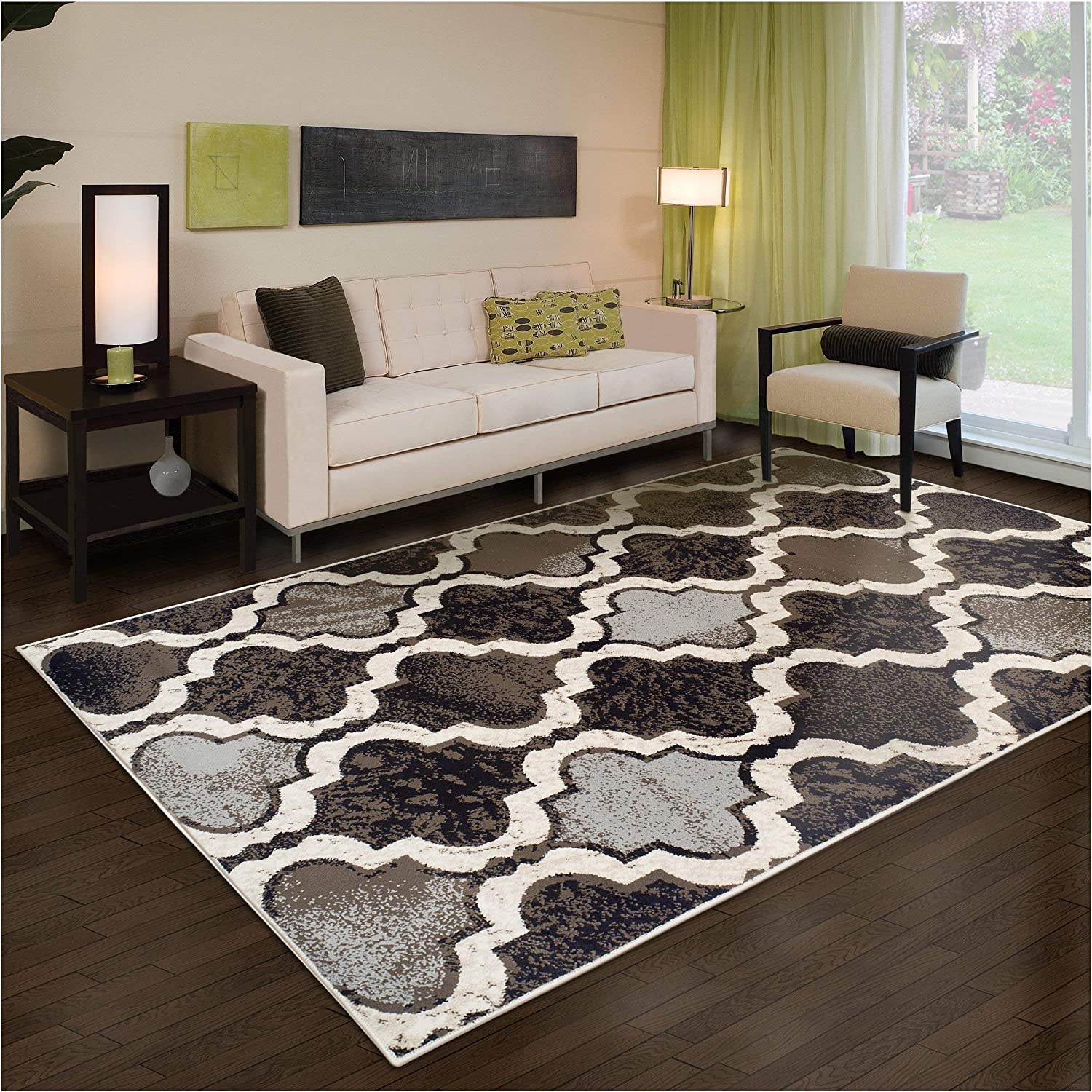 Beige Chic Textured Geometric Trellis Pattern Anti-Static 10mm Pile Height with Jute Backing 27 x 8 Runner Superior Modern Viking Collection Area Rug Water-Repellent Rugs