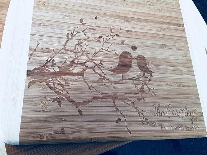 amazon com personalized lovebirds cutting board great wedding gift