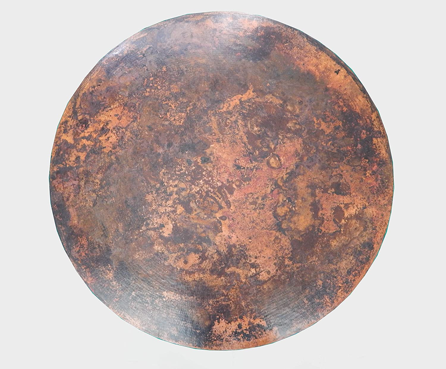 COLOR Y TRADICI N Mexican Round Copper Table Top Hand Hammered Stained Patina 48