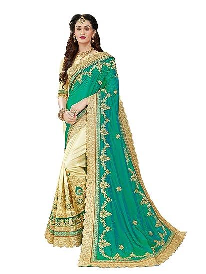 c7939b761e9205 Manohari Embroidery Green Art Silk Saree  Amazon.in  Clothing   Accessories