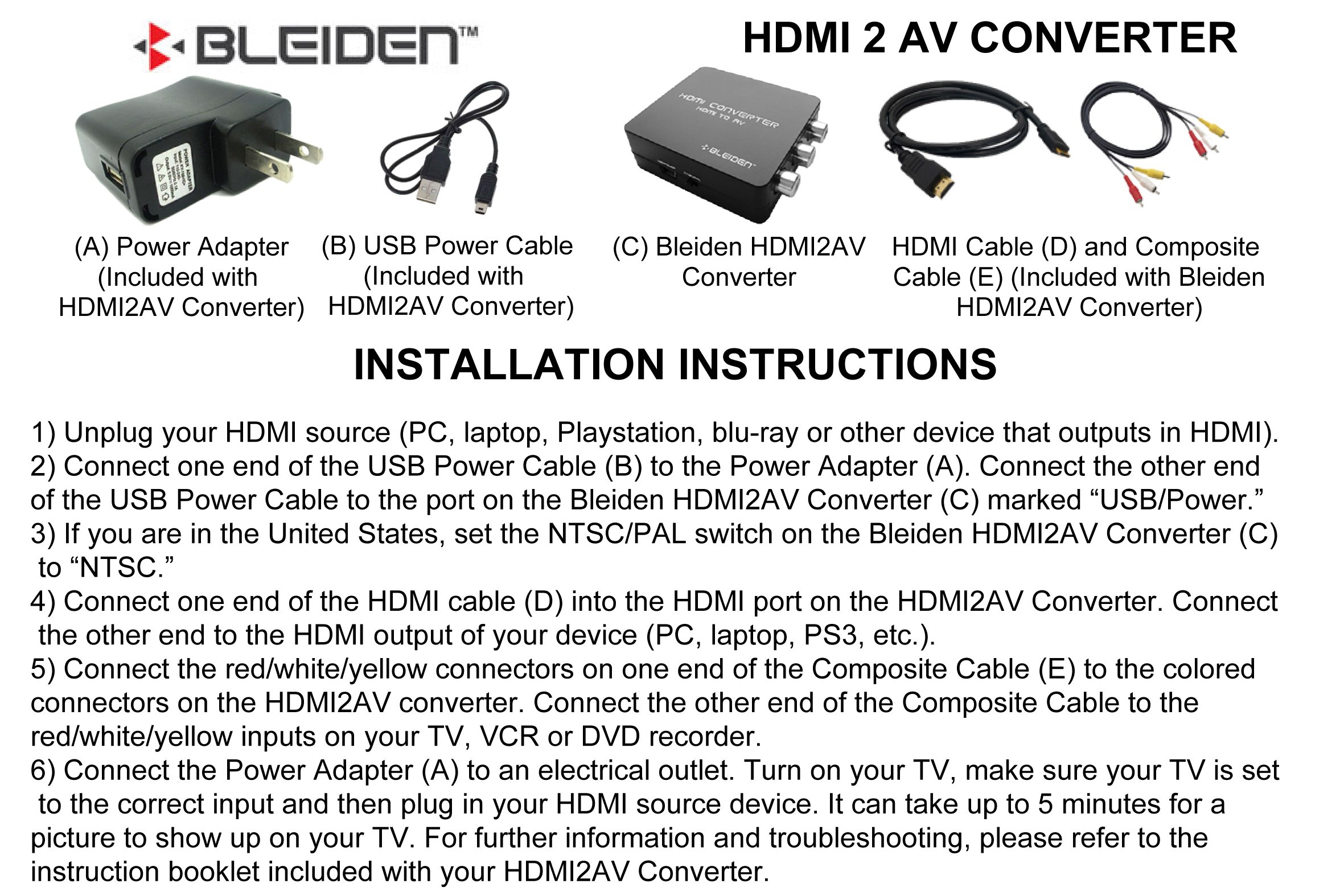 HDMI to Composite AV Converter for Laptop, Blu-Ray, NVIDIA Shield Android TV, PS4, PS3 and other HDMI Devices - Use with Old TVs that do not have HDMI input