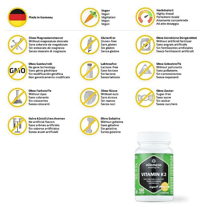 Vitamaze® Vitamina K2 MK-7 200 µg altamente dosificada - certificada - Menaquinona - 180 comprimidos per 6 meses - Hecho en Alemania - sin estearato ...