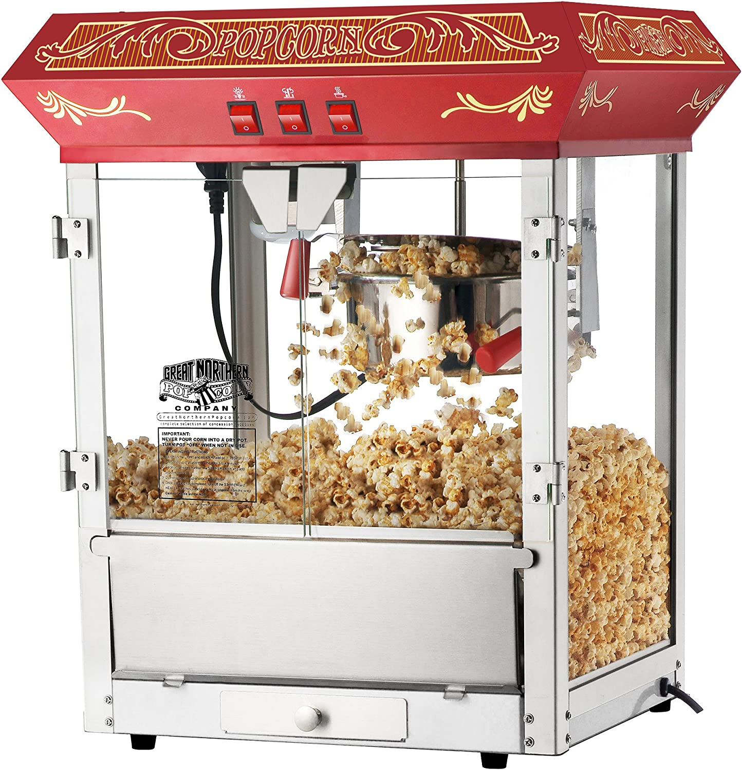 6136 Great Northern Popcorn Red Old Time Popcorn Popper Machine, 8 Ounce