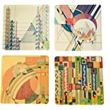 """CoasterStone 1 Absorbent Stone Coasters, Frank Lloyd Wright """"Liberty Covers I"""", 4.25"""", Multicolor"""