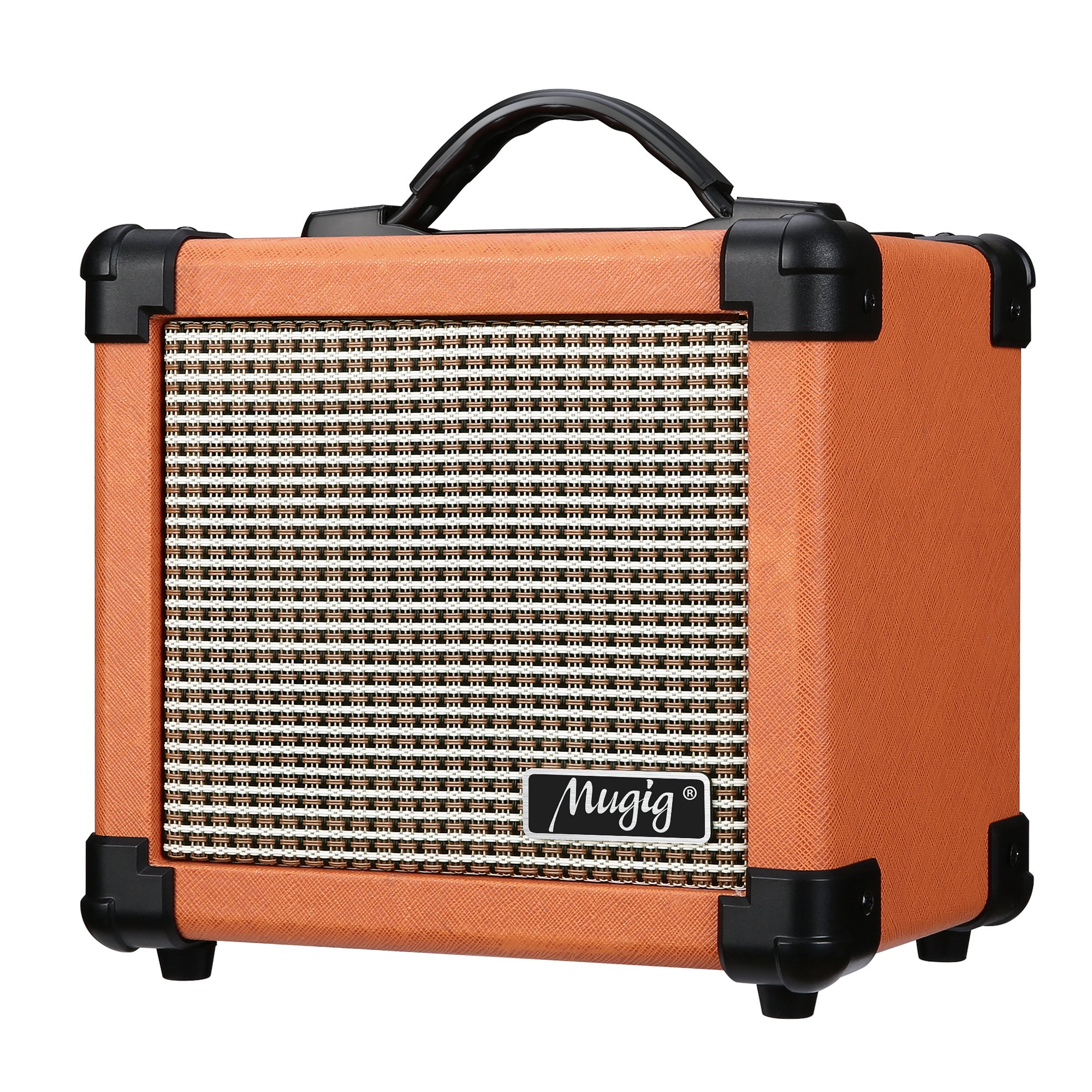 Mugig Guitar Amplifier 10W with Two Adjustable Channels and Dist Effects, Powered by 6 AA Batteries or AC Adapter by Mugig