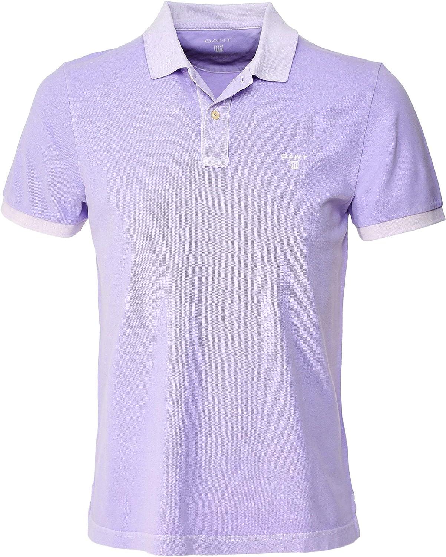 GANT Hombres Piqué de algodón Sunbleached Camisa de Polo Púrpura L ...