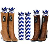 My Boot Trees, Boot Shaper Stands for Closet Organization. Many Patterns to Choose From. 1 Pair (Blue Chevron).