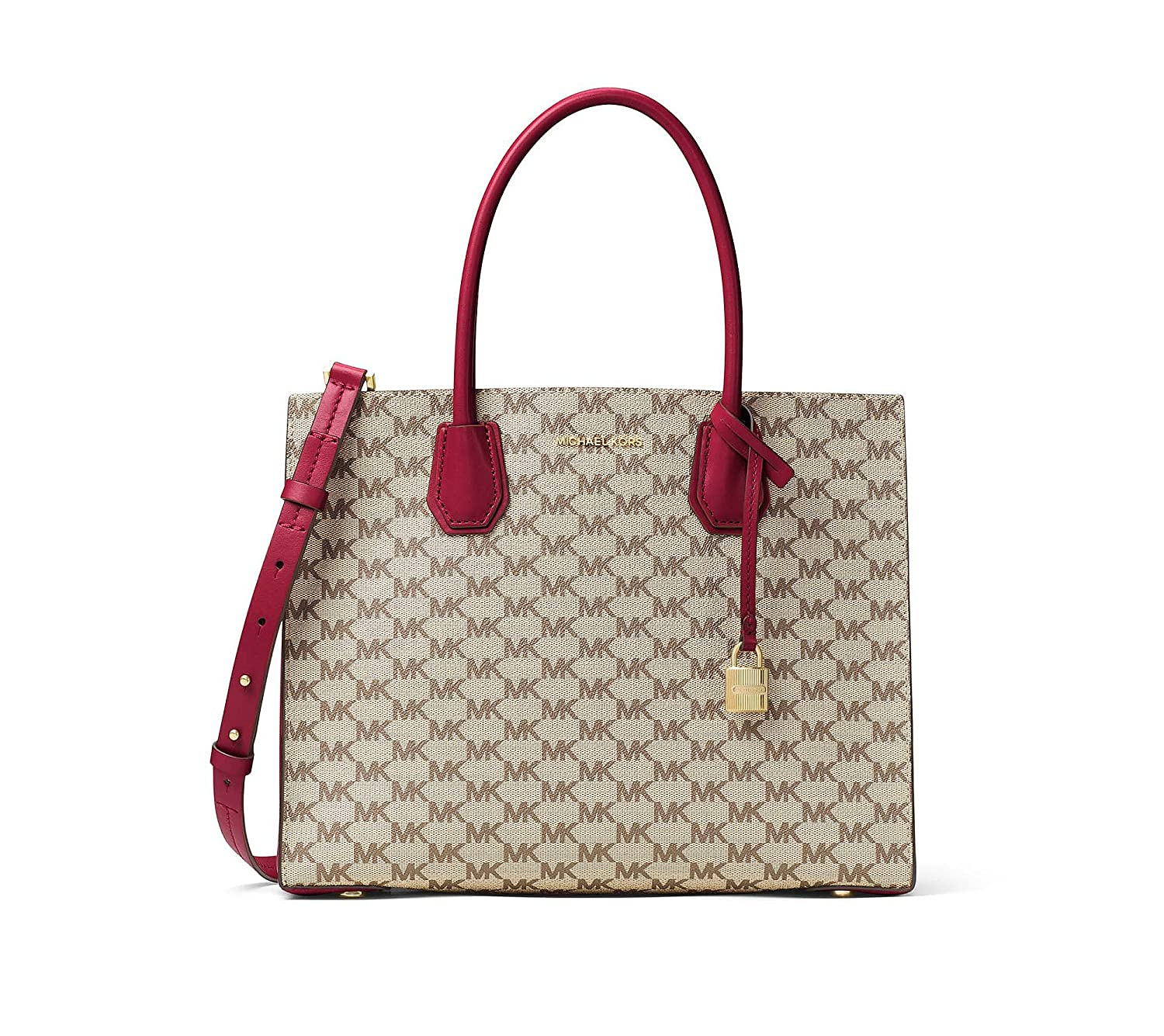 8ef47cea8cb1 Amazon.com  MICHAEL Michael Kors KORS STUDIO Mercer Large Convertible Tote  Natural Cherry  Clothing