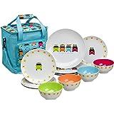 Flamefield CAM0113 Camper Smiles 12 Piece Melamine Dining Set with Cooler Bag, Multicolour