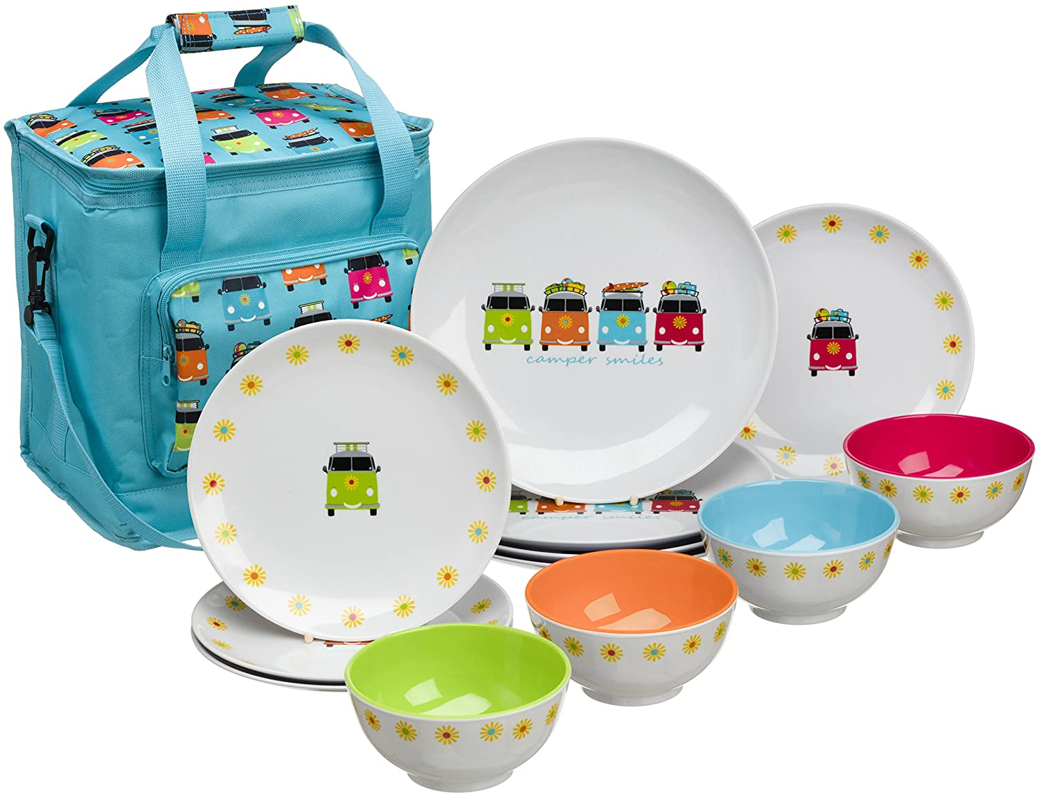 Flamefield CAM0113 Camper Smiles 12 Piece Melamine Dining Set with Cooler Bag, Multicolour