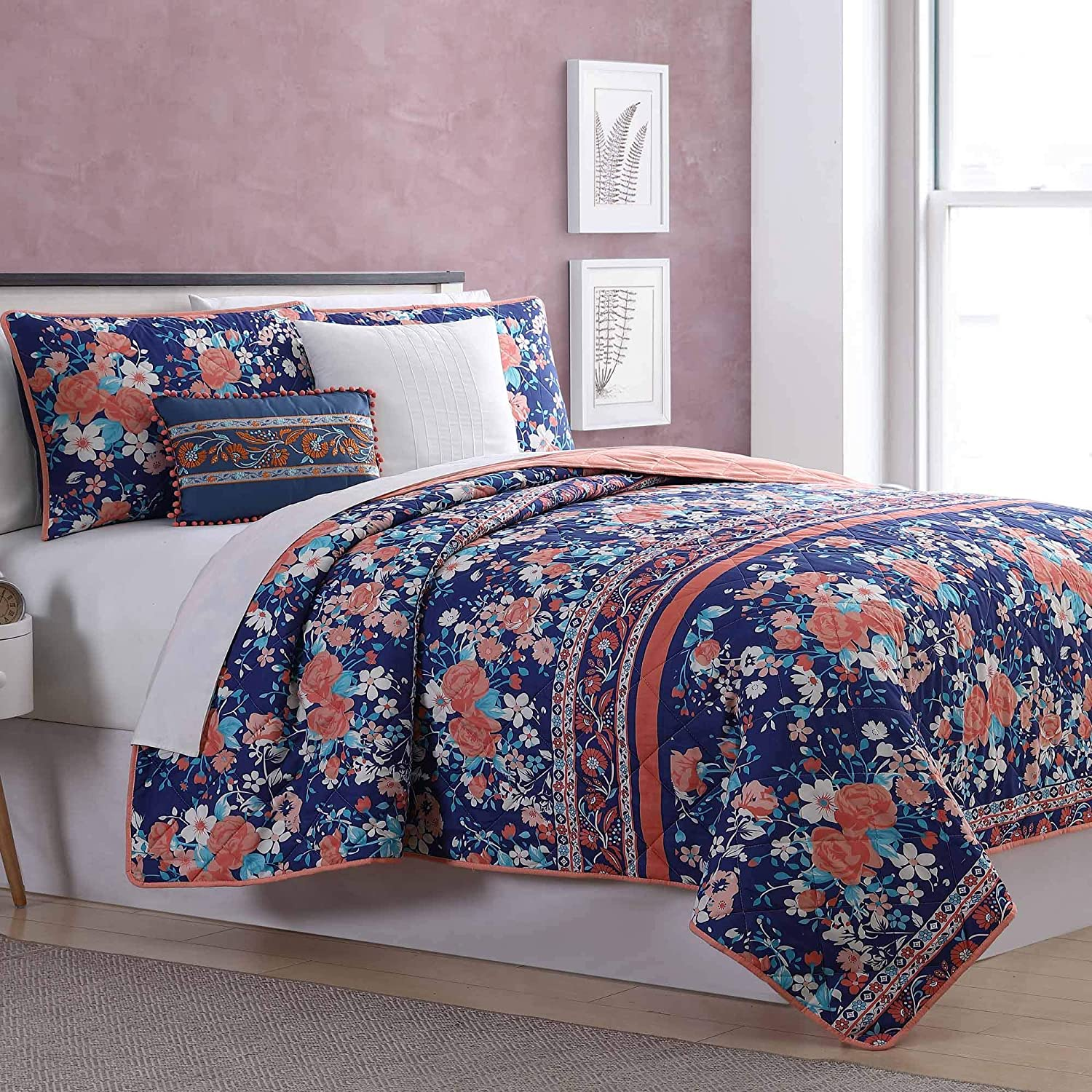 Amrapur Overseas Exbury Gardens 5-Piece Reversible Quilted Coverlet Set Twin Navy/Coral
