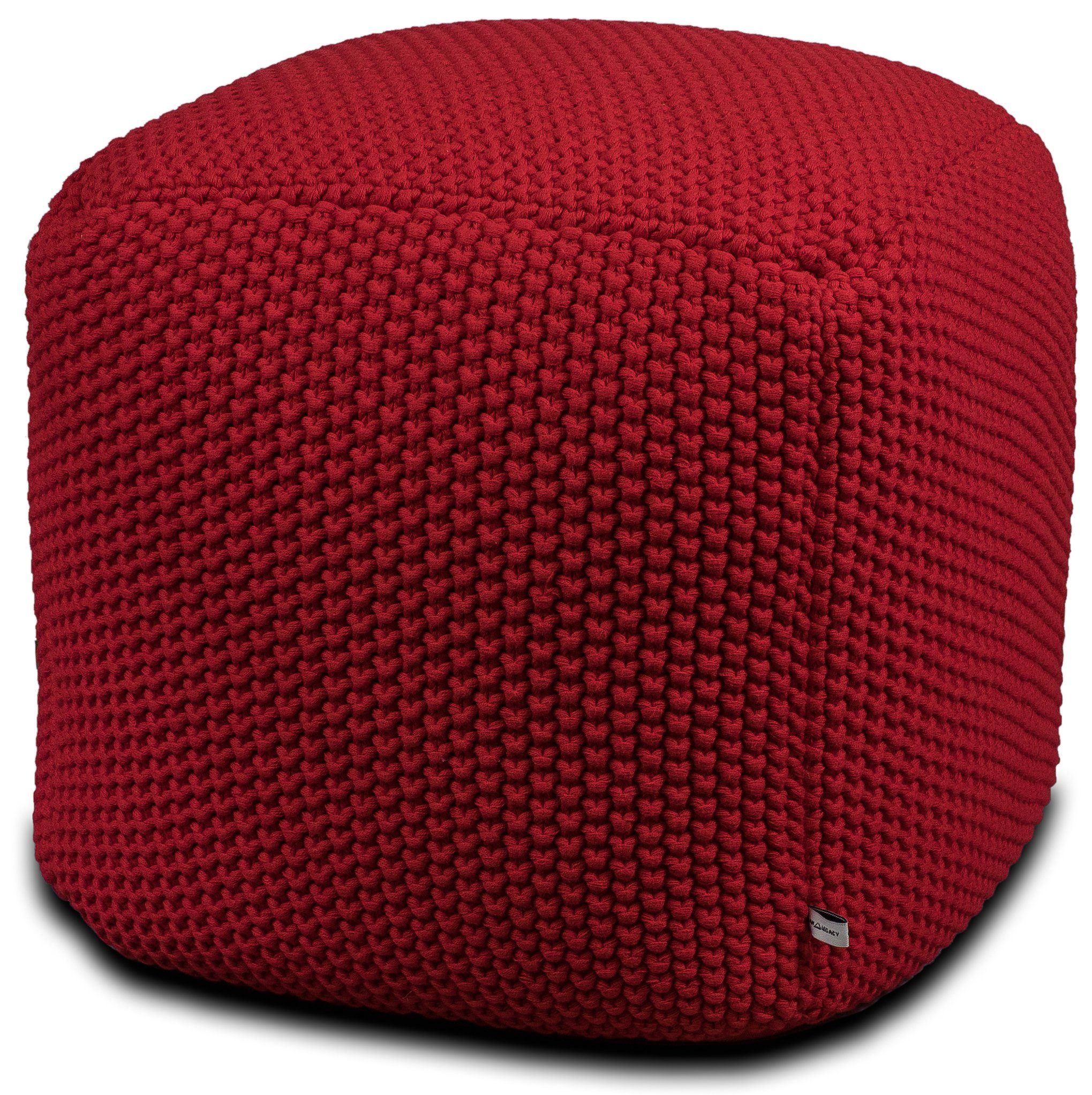 Urban Legacy Crocheted/Knitted Ottoman Pouf (100% Cotton, Handmade, Square, Beautiful, Soft and Lightweight, Available in Four Colors) | by (Red)