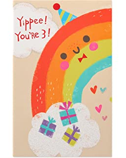 Amazon temporary tattoo valentine cards for kids pkg of 30 american greetings rainbow 3rd birthday card with glitter m4hsunfo
