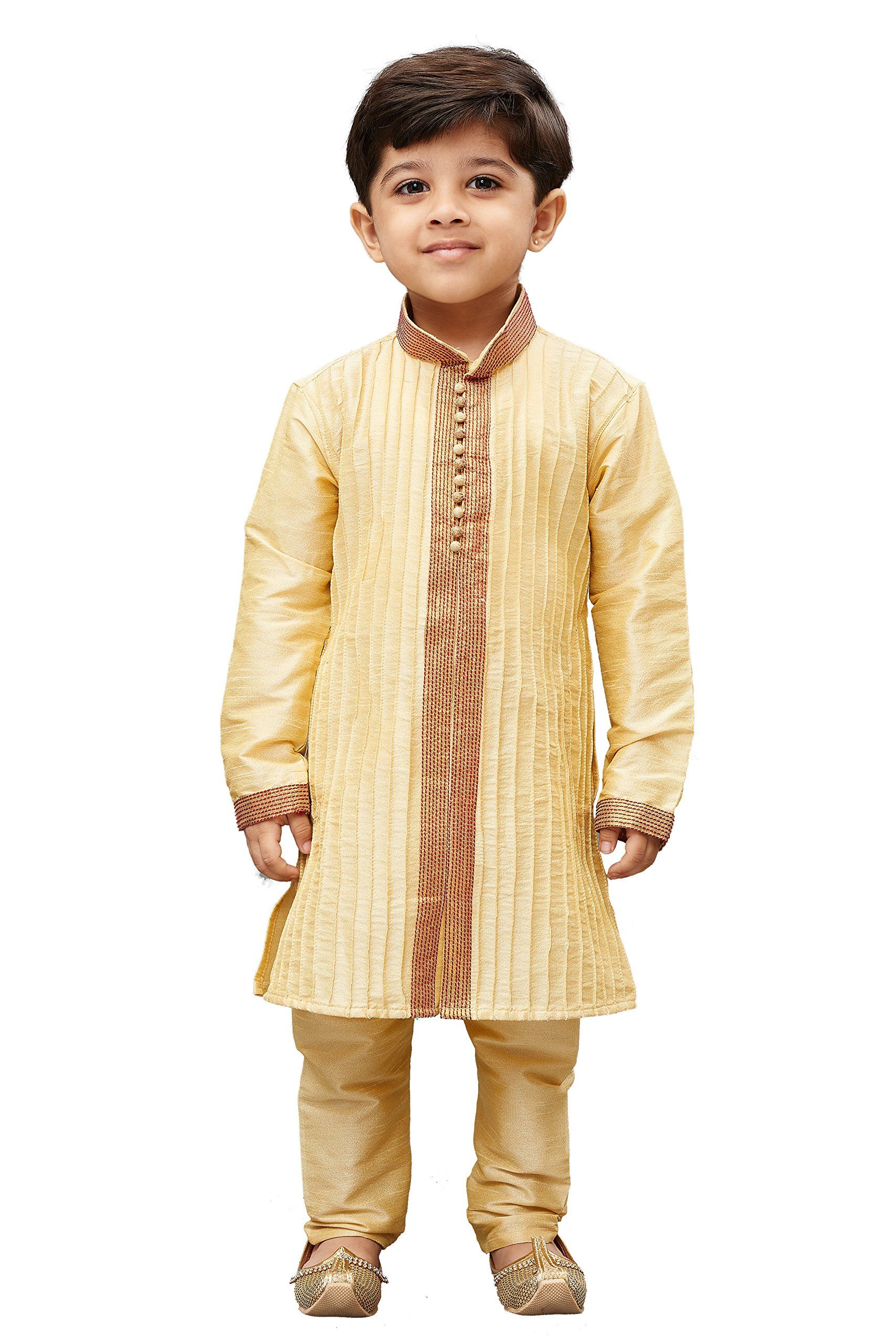 JBN Creation Boys' Gold Cotton Silk Kurta Pyjama Set(VASBKGO003nPGO_28)